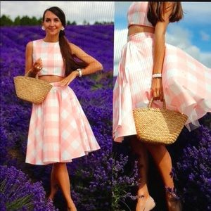 Chicwish Check pink cropped top skirt set S 2 4
